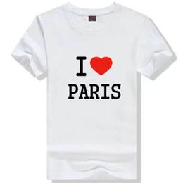 Wholesale I Love Paris - I love Paris T shirt Show letter short sleeve gown Street tees Leisure printing clothing Quality cotton Tshirt