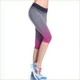 Wholesale Women Capri Tights - Wholesale-RP09 HOT Gradient Color Women Running Pants Compression capri Pants Yoga Sports Tights trousers sports legging