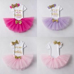 Wholesale Infant Black Tutu Skirt - Baby Girls Letter Rompers + TUTU Skirts 2PCS Birthday Sets Infant Toddler Girl Bubble Skirt Princess Dress Baby Summer Cotton Ourfits Ins