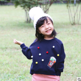 Wholesale Princess Sweatshirts - Family velvet sweatshirt children sweatshirt baby girls colorful pompon princess pullover Mommy and me clothing kids leisure jumper R0531