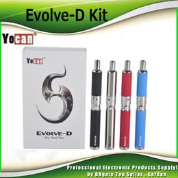 Wholesale Ego D - Original Yocan Evolve-D Starter Kit dry herb pen Vaporizer with Pancake Dual Coils 650mAh Battery ego thread atomizer genuine 2204022