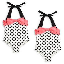 Wholesale One Piece Toddler Swimwear - Wholesale- 2016 New Baby Toddler Girls One Piece Swimwear Bowknot Polka Dots Swimable Bikini Kids Holiday Swimwear Swimsuit 2-7Y