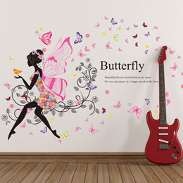 Wholesale Flower Decals Cars - Wholesale- New 1PC Wallpaper 60X90cm DIY Car Butterfly Flower Girl Removable Wall Paper Vinyl Decal Mural Home High Quality DN582