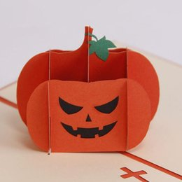 Wholesale halloween pumkin - (10 pieces lot)Laser Cut Favor Party Supply Customized Decorative Souvenir Halloween Cute Pumkin Pattern Greeting Card