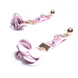 Wholesale Pink Rose Gold Earrings - Pink Velvet Stud Earrings Trendy Rhinestone Imitation Pearl Rose Charm Dangle Earrings Fine Handmade Eardrop Ear Jewelry