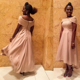 Wholesale Girl Hi Tops - Asymmetric Tea Length Evening Dress Pink Boat Neck Cap Sleeves Top Formal High Low African Girls Prom Party Dress