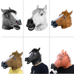 Wholesale Horses Halloween Costumes - Creepy Horse Mask Head Halloween Costume Theater Prop Novelty Latex Rubber Fast DHL free shipping from olympia