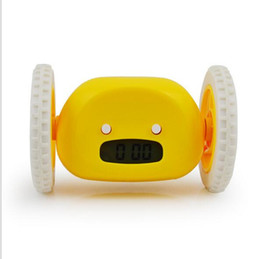 Wholesale Mechanical Alarm - Cartoon Digital Running Alarm Clocks with Wheel Clocky Hide and Seek Runs Away Snooze Alarm Clock with LCD Display White Blue Black Pink