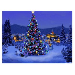 Wholesale Oil Painting Christmas Tree - ASLT Best Pictures DIY Digital Oil Painting Paint Shiny Christmas Birthday Unique Gift Santa Claus and Christmas tree
