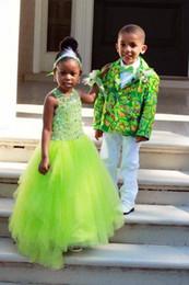 Wholesale Kids Pageant Dresses Size 14 - Kids Prom 2017 Rhinestone Prom Dress For Kids hi low Dresses Light green Ball Dresses Tulle Girls Pageant Dresses