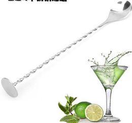 Wholesale Stir Spoon - 100 pcs Stainless Steel Cocktail Mixer Bar Puddler Stirring Spoon Ladle Stirrer Martini Mojito Margarita Tool