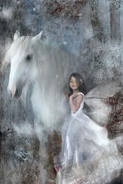 Wholesale Wall Decor Girl - Full Drill DIY Diamond Painting Embroidery 5D Little Girl and Horse Cross Stitch Crystal Home Bedroom Wall Decoration Decor Craft Gift