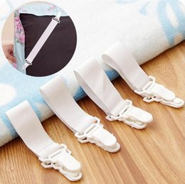 Wholesale Elastic Beds - White Bed Sheet Mattress Cover Blankets Grippers Straps Suspenders Clip Holder Elastic Fasteners 4 Pc Lot TOP1780