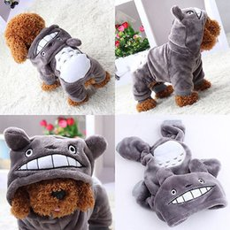 Wholesale Winter Puppy Clothes Xs - Hot Sale New Hoodie Costume Dog Clothes Pet Coral Fleece Coat Puppy Costumes Totoro Apparel Change Outfit Winter XS - XL