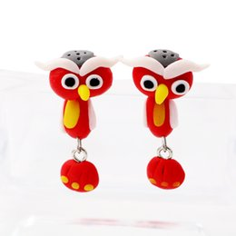 Wholesale Bird Clay - Animal Lovely Bird soft handmade Polymer clay cartoon earrings eardrop by hand ER757