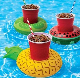 Wholesale Floating Pool Mats - PVC Inflatable Drink Cup Holder 7 styles Donut Flamingo Watermelon Pineapple Lemon Shaped Floating Mat Floating Pool Toys OOA1275