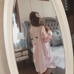 Wholesale Lady Suits Wholesale - Wholesale- Long Sleeve Ladies Sexy Temptation Lingerie Suit Imitation Silk Pajamas Suspenders Nightdress Sexy Nightgown W333