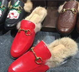 Wholesale Women Flat Slipper Boots - 2017 High quality Best Selling Women Flat Shoes Horsebit Fur Embellished Slippers Slingback Casual Shoes Wholesale Drop Shipping,size35-42