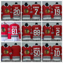 Wholesale China Nhl - Cheap #19 Jonathan Toews 88 Patrick Kane Chicago Blackhawks NHL Ice Hockey Home Red Road White Black Green Men Sports Stitched Jerseys China