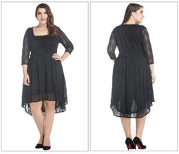 Wholesale Red Chubby - Plus Size Lace Dresses 2017 Summer Style Chubby Women Sexy Large Size 3 4 Long Sleeve Spring Elegant Formal Party Casual Dresses 8008