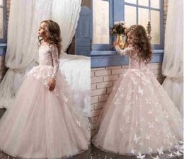 Wholesale Lace Butterfly Wedding Dress - Butterfly Flower Girls Dresses For Wedding 2017 Pentelei with Long Sleeves and Crew Neck Appliques Blush Pink Little Girls Prom Gowns