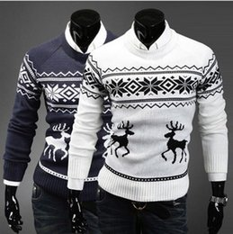 Wholesale ugly sweaters - Wholesale- Bestitem Free Shipping Newly Fashion Men's Pullover Little Fawn Sweater Men Slim Ugly Christmas Sweaters Outerwear