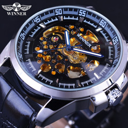 Wholesale Limited Winners - Wholesale- Winner 2017 Fashion Stylish Transparent Design Golden Skeleton Inside Mens Watches Top Brand Luxury Automatic Mechanical Watches