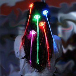 Wholesale Fiber Optic Wiring - Wholesale- New Arrival White LED Light-Emitting Fiber Optic Wire Hairpin Luminous Silk Braids Styling Tool 1pc