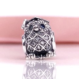 Wholesale Owl Diy - Authentic 925 Sterling Silver Graduate Owl Swiss Blue Crystal & Clear CZ Fit For Pandora Snake Chain Bracelet DIY Jewelry 791502NSB
