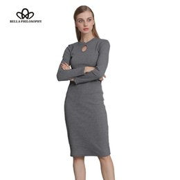 Wholesale Stretchy Long Knit Dresses - 2017 Fall Winter Women Stretchy Knitted Sweater Dresses Stand Collar Hollow out Ruched Long Sleeve Skinny Pencil Dress