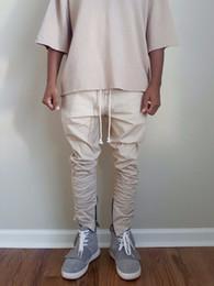 Wholesale Drawstring Skinny Pants - Wholesale-BUYER SHOW justin bieber brand style side zipper men slim casual mens hip hop jogger biker pants swag sweatpants skinny trousers