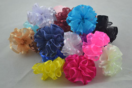 Wholesale Organza Ribbon Satin Edge - Wholesale- 10 pcs lot Organza ribbon with Satin edge Flower WITHOUT Clip Fabric Flower With Rhinestone For Baby Girls Headbands Appliques