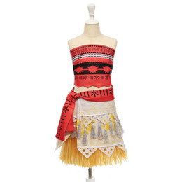 Wholesale Hot Dresses For Cosplay - Hot Movie Princess Moana Cosplay Costume for Kids Moana Princess Dress Children Halloween Costume Party Dress