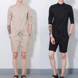 Wholesale Khaki Jumpsuits - Fashion Men's Cotton Jumpsuits Leisure Suspender Trousers Overalls Short Pants one piece jumpsuit Trousers Overalls Short Pants