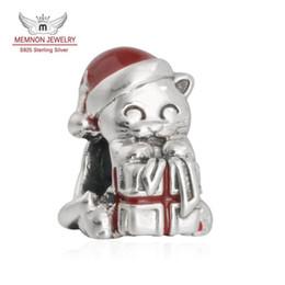 Wholesale Enamel Hat - Memnon Jewelry 2016 Winter 925 Sterling Silver Red Hat Christmas Kitten Enamel Charm Beads For DIY Jewelry Making Best Christmas Gifts BE424