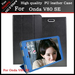 Wholesale Tablet Stand Folder - Wholesale- Ultra Slim 3-Folder Mangetic Closure Silk Flip Stand PU Leather Cover Case For Onda V80 SE 8.0 inch Tablet pc Freeshipping+gift