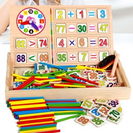 Wholesale Toy Blackboards - Wholesale-Wooden Math Toys Baby Educational Clock Cognition Math Toy with Blackboard Chalks Children Wooden Educative Toys