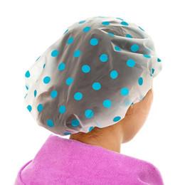 Wholesale Packing Cap Hat - Wholesale- 5 PCS pack Waterproof Shower Cap Elastic Band Hat Bath Cap Cute Cartoon Shower Hats Bathroom Accessories