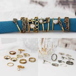 Wholesale unique style engagement rings - Gold Silver 2 Styles Rings Set Jewelry Unique Boho Beach Punk Style Finger Midi Ring Free DHL B999S