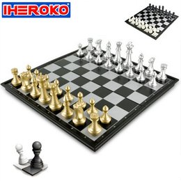 Wholesale Magnetic Game Set - Wholesale- Chess Game Silver Gold Pieces Folding Magnetic Foldable Board Contemporary Set IQ Training Game Portable Travel Tournament Toy