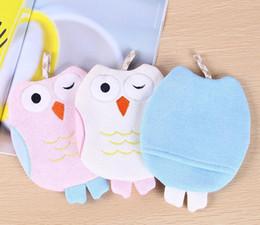 Wholesale Wholesale Owl Accessories Kids - Baby Sponge Skin Rub Mitt Kids Child Bath Brush Owl Shape Body Glove Bathing Massage Towel Bathroom Accessories ZA3846