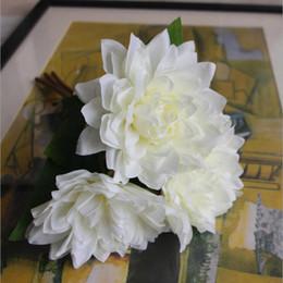 Wholesale Flower Dahlias - Green Artificial Silk Plant Fake Dahlia Bouquet Real Touch Flower Wedding Flower Floristry Party Home Decorative 4 Colours