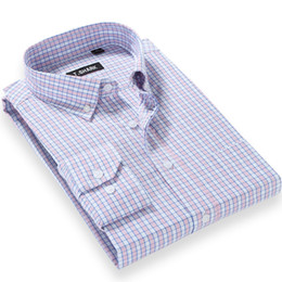 Wholesale Stitching Designs Shirts - Wholesale- 2017 Leisure Style New Oxford Men Dress Shirt Brand Design Fashion Plaid Long Sleeve Regular Fit Business Casual Men Shirts