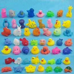 Wholesale Wholesale Dog Items - Baby Bath Water Toy Sounds Mini Yellow Rubber Ducks Kids Bathe Children Swiming Beach Gifts More than 50 Animals 200pcs Free DHL
