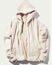 Dio peluche online-2016 inverno Fear of God FOG collezione avanti No chiusura frontale crema peluche uomo Sherpa Hood Felpa con cappuccio da uomo hiphop top quality hoodyies