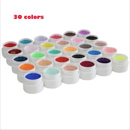 Wholesale Colour Gel Nails - 36 36  set Pure Colour uv Nail Art Tips Shiny Cover Extension Manicure gel tools,30 12  24colors uv gel kit