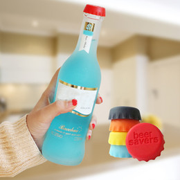 Wholesale Plastic Wine Cork Stoppers - 6pcs lot New Kitchen multicolor Silicone Button Beer Wine Cork Stopper Plug Bottle Cap Cover Perfect Home Kitchen Tools