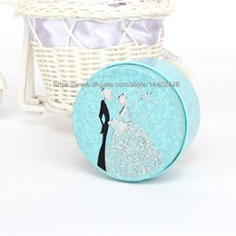 Wholesale Bride Wedding Tin Box - 1000pcs Round Shape Metal Tin Material Bride Groom Candy Box Wedding Favor Gift Favours Wedding Party Free Shipping