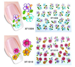 Wholesale Transfer Rose Tattoo - Water Transfer Sticker Nail Art Decals Nails Wraps Temporary Tattoos Watermark Nail Tools Rose flower design 50pcs free ship