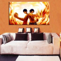 Wholesale One Piece Canvas Oil Paintings - Single Unframed One Piece Luffy and Ace Anime Painting Oil Painting On Canvas Giclee Wall Art Painting Art Picture For Home Decorr